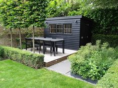 Everything You Need to Know About Choosing a Garden Shed and Having it Installed Painted Garden Sheds, Painted Shed, Contemporary Sheds, Contemporary Garden Design, Backyard Sheds, Backyard Landscaping, Scandi Garden, Garden Office Shed, Roof Terrace Design