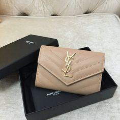 2016 Spring YSL Small Monogram Envelope Wallet in Powder Grain De Poudre Textured Matelasse Leather