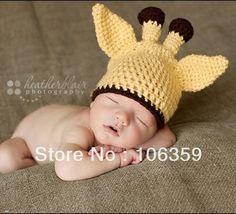 nuevo estilo de bebé jirafa patrón del sombrero niño animal de ganchillo beanie sombrero hecho a mano las tapas infanti...
