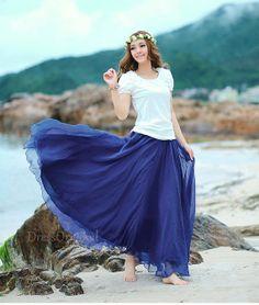 Blue Chiffon skirt Maxi Skirt Long Skirt Maxi by DressOriginal, $38.00