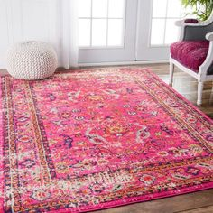 237.99 (5x7) nuLOOM Traditional Vintage Floral Distressed Pink Rug (5'3 x 7'7) #TraditionalBedroomDecor