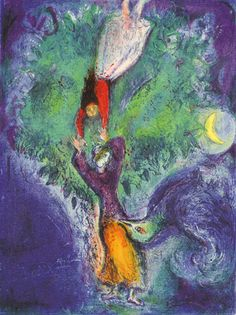 Marc Chagall - Between Surrealism & NeoPrimitivism - So she came down from the tree. Marc Chagall, Artist Chagall, Chagall Paintings, Pablo Picasso, Illustrator, Jewish Art, French Artists, Oeuvre D'art, Love Art