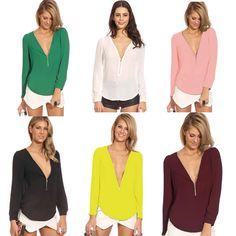 Blusas femeninas 2015 moda V cuello Casual mujer camisas Blusas de manga larga blusa de la gasa mujer tallas grandes Tops en Blusas y Camisas de Moda y Complementos Mujer en AliExpress.com | Alibaba Group
