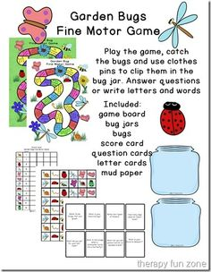 Therapy Fun Zone: Garden Bugs Fine Motor Game. Pinned by SOS Inc. Resources. Follow all our boards at pinterest.com/sostherapy for therapy resources.