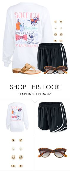 """I really need some long preppy t shirts!"" by flroasburn ❤ liked on Polyvore featuring NIKE, Forever 21, H&M and Jack Rogers"