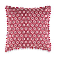 Anthology® Kaya Pom-Pom Oblong Throw Pillow in Berry - BedBathandBeyond.com