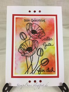 Geburtstagskarte Mohnblumen Aquarell Birthday card Poppy watercolor Technique Tuesday Distress Ink