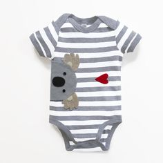 Baby Koala Bodysuit : Baby Boy Baby Boy Shower New by mypipsqueak Baby Girl Dresses, Baby Boy Outfits, Baby Girl Fashion, Kids Fashion, Baby Posters, Baby Koala, Baby Bodysuit, White Bodysuit, Summer Boy