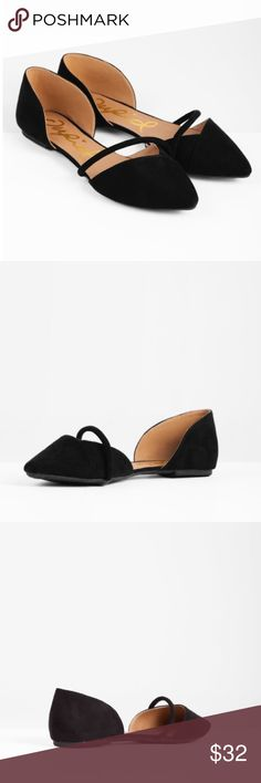 Black Flats Black faux suede cut out ballet flats are perfect to pair with any winter outfit! Note that although these are a 9 they fit more like an 8.5. Wasn't quite the right size for me so I selling. Never been worn before. Tobi Shoes Flats & Loafers