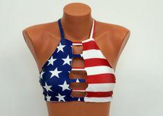 PADDED Strappy American flag high neck halter bikini top-Swimwear-Swimsuit-Bathing suit-Bikini-Yoga top-Flag bikini-4th July-PLUS SIZE !!!