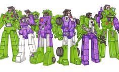 Constructicons : Combine to form Devastator. Bonecrusher; Hook; Mixmaster; Scrapper; Scavenger; Long Haul. This photo was uploaded by TransformersArkColor