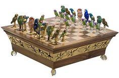 Endangered Parrots Luxury Chess Set