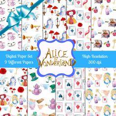 Alice in Wonderland Digital Paper, Alice in Wonderland Printable Paper, Alice in Wonderland Paper, Scrapbook Paper, Disney Paper by WalkingMombieDesign on Etsy