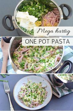 Hurtig one pot pastaret med skinke - Døgurðin - Easy Healthy Recipes, Raw Food Recipes, Lunch Recipes, Pasta Recipes, Dinner Recipes, Cooking Recipes, Pot Pasta, Dinner Is Served, One Pot Meals
