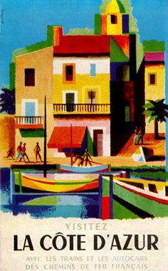 FRANCE - Cote d'Azur Jacques Nathan-Garamond poster design. Via SandiV. #Vintage #Travel
