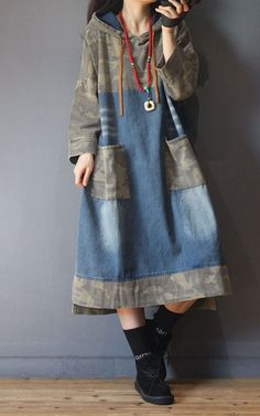 Denim Fashion, Boho Fashion, Fashion Outfits, Fashion Looks, Diy Clothes And Shoes, Hooded Dress, Matches Fashion, One Piece Dress, Vintage Outfits