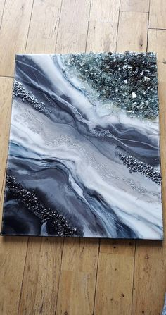 Earth and Sea paint pour resin finished 16x20 do everything in love