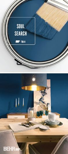 Show off your modern interior design style with a little help from BEHR Paint in Soul Search. This dark blue hue is an easy way to add a bold twist to any colour palette. Gold metallic accents and light wood furniture complete the trendy look of this dining room.