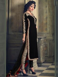 Black Color Velvet Embroidered Straight Salwar Kameez