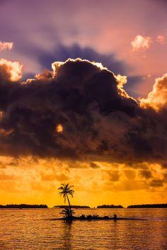 Palm trees on a small island at sunset, Four Seasons Resort Bora Bora, Motu Tehotu, Bora Bora, French Polynesia -- blain harrington photography