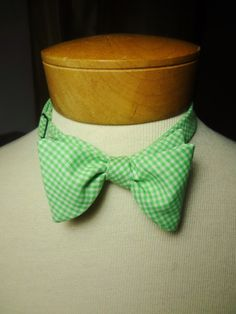 Self-Tie Bowtie Light Green Gingham by BowMeAwayByAlexandra on Etsy