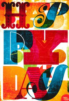 Textured Typography. tands happy day poster by tinder + sparks.