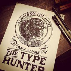 Type Hunter branding designed during Jon Contino's Skillshare class.  By Keith Tatum #typehunter