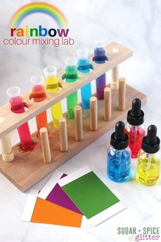 This Rainbow Colour Mixing Lab is the perfect easy science experiment for kids & for mixed age groups. Practical life skills meets the scientific method! Toddler Science Experiments, Science Activities For Kids, Preschool Science, Color Activities, Steam Activities, Children Activities, Science Classroom, Sensory Activities, Kindergarten Colors