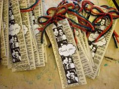 book marks on a dictionary page / they were for wedding favors but so cool to do it for our own