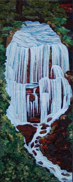 """This is one of the art quilts I made for the Quilt for Two Rivers project called """"Cascades"""".  The proceeds went to Forest Service Foundation to help restore Whychus Creek."""