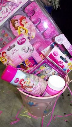Young girl barbie birthday basket party pinterest disney princess gift basket you are bidding on a 6 piece including the bucket gift basket this is great for your little ones easter basket bir negle Image collections