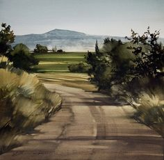 """2013, Afternoon Drive by Joseph Alleman Watercolor ~ 18.75"""" x 18.75"""""""