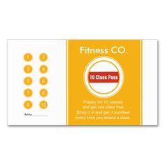 Fitness Business Card 10 Class Pass Template