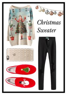 """#253 Christmas Sweater"" by xjet1998x ❤ liked on Polyvore featuring moda, Casetify, DwellStudio, Joshua's, women's clothing, women, female, woman, misses e juniors"