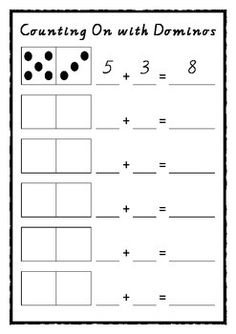 A clear and simple way for students to record a number sentence when counting on. Montessori Math, Preschool Math, Kindergarten Worksheets, Math Stations, Math Centers, I Love Math, Math Sheets, Direct Instruction, Math Addition
