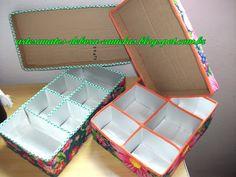 Artesanatos Débora Canielas: Caixas organizadoras feitas de caixa de leite e suco!
