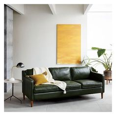 West Elm Hamilton Leather 3 Seater Sofa, Sienna - Sofas & Loveseats -... ($2,799) ❤ liked on Polyvore featuring home, furniture, sofas, colored leather furniture, colored leather couches, colored leather sofas, three seater leather sofa and 3 seater leather sofa
