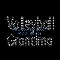 New Product Volleyball Grandma Rhinestone Iron On Transfer Designs, Hot Fix Transfer