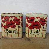French vintage poppy tins