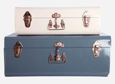House Doctor Koffers Set van 2 - Blauw/Crème