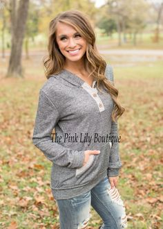 Charcoal Weekend Hoodie - The Pink Lily Boutique