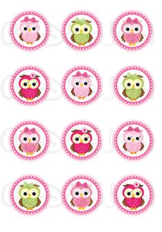 Owls. 2 Inch Circles. Stickers Cupcake Topper Tags by OLDesign