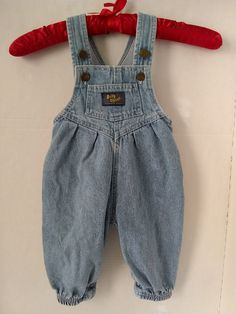 da0ab25cc1 Vtg Baby Girl Oshkosh Bib Overalls Pleated Vestbak Romper Blue Denim 12 MO