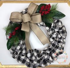 Buffalo Plaid Burlap Wreath with Magnolia Leaves & Red Berries, Front Door Wreath, Holiday Wreath, Farmhouse Wreath, Christmas Wreath - Buffalo Plaid Wreaths - Christmas Wreaths For Front Door, Christmas Mantels, Holiday Wreaths, Door Wreaths, Christmas Crafts, Christmas Decorations, Burlap Wreaths, Burlap Christmas, Burlap Ribbon