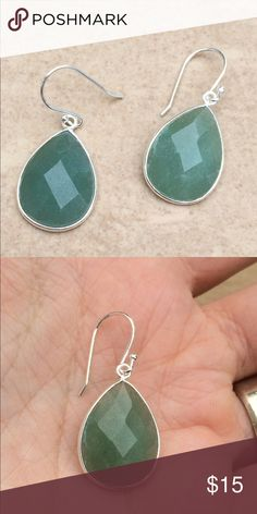 Silver Plated Genuine Green Aventurine Earrings Brand New!! Silver plated teardrop earrings features a faceted genuine green aventurine set at the center.  Earrings measure 1 1/3 long X 5/8 inch wide. Fish wires make these a comfortable addition to any outfit. Jewelry Earrings