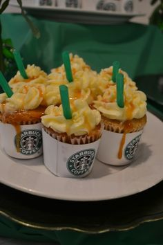 """Starbucks frap cupcakes-love these with the wrappers!  Great attention to detail- which I ❤- hmm, think about straws- something edible? Little twizzlers, perhaps? I do like twizzlers for beverage """"straws""""- ( great for parties- esp Academy Awards, outdoor movies in summer, etc) I know you could do that with a larger cupcake-   :)"""
