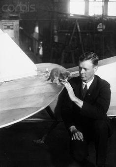 Charles Lindbergh & a kitty.