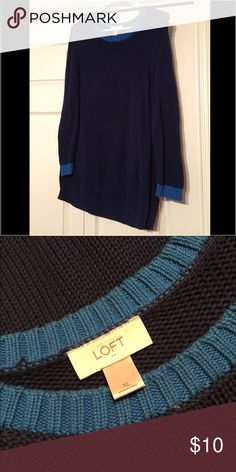 Navy sweater Navy with light blue trim sweater from the Loft. Super comfy- good condition. LOFT Sweaters Crew & Scoop Necks