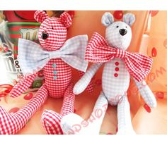 Пара текстильных медведей. Игрушки ручной работы