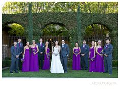 Bright purple over the shoulder bridesmaid dresses and grooms in matching ties | villasiena.cc
